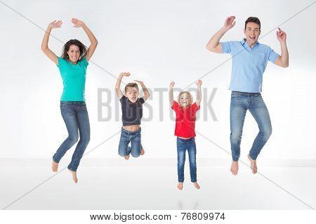 Full Figured Family On White Background