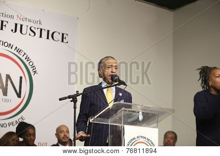 Rev Al Sharpton addresses rally