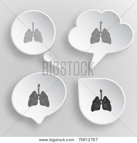 Lungs. White flat raster buttons on gray background.