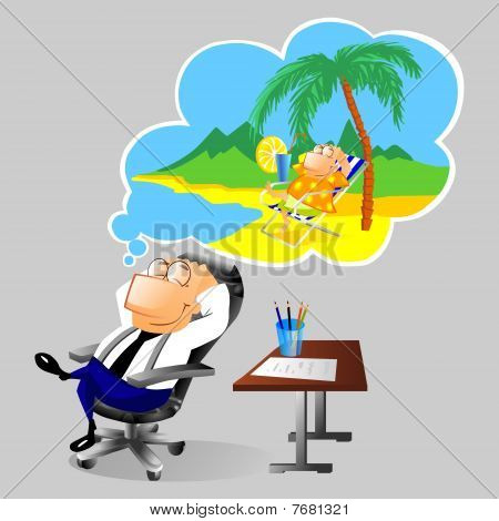 Businessman dreaming about vacation at workplace