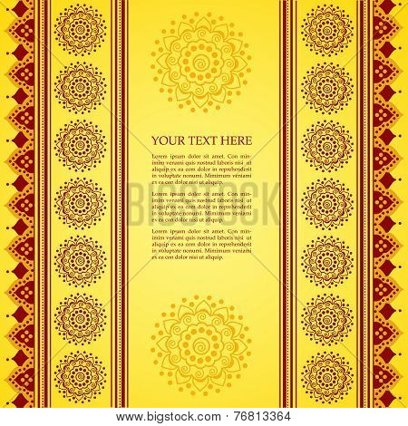 Yellow Indian henna mandala background
