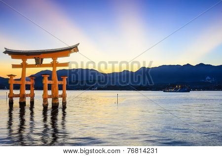 Miyajima, Hiroshima, Japan at the famed floating torii gate.