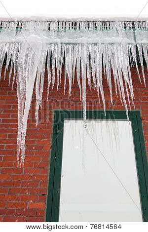 Long Icicles On A Gutter