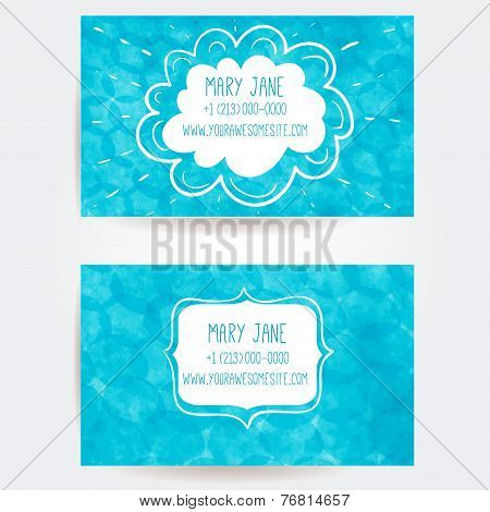 Set of two creative business card templates with artistic vector design. Blue spatter background wit