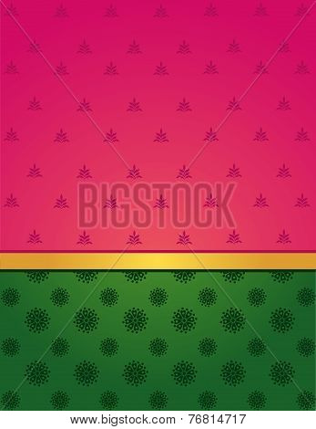 Green and pink Indian saree design background