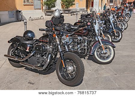 Row Of Harley Davidson Motorbikes