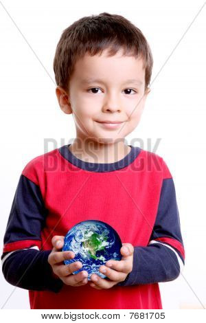Planet On Child Hands