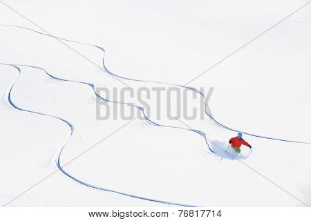 Skiing, Skier, Freeski - freeride, man skiing downhill