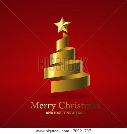 Christmas tree from golden ribbon, and with golden star. Vector illustration.