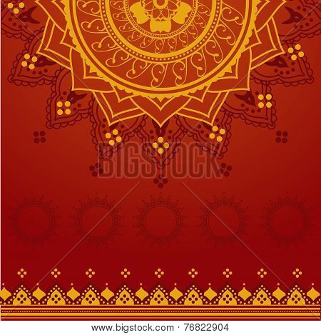 Red and Yellow Indian Mandala Background