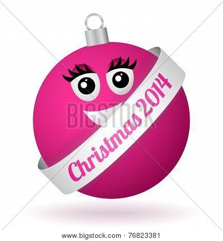 Vector Cartoon Christmas Ball Girl