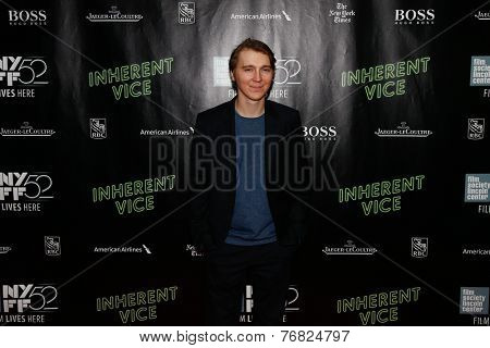 NEW YORK-OCT 4: Actor Paul Dano attends the 'Inherent Vice' Centerpiece Gala Presentation & World Premiere at the 52nd New York Film Festival at Alice Tully Hall on October 4, 2014 in New York City.