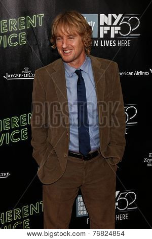 NEW YORK-OCT 4: Actor Owen Wilson attends the 'Inherent Vice' Centerpiece Gala Presentation & World Premiere at the 52nd New York Film Festival at Alice Tully Hall on October 4, 2014 in New York City.