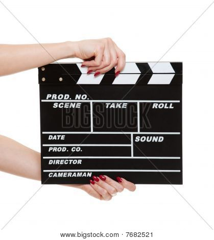 Cinema Clapboard In Female Hands