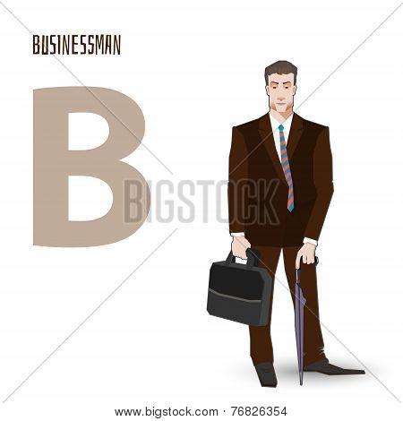 flat vector profession Letter B - businessman