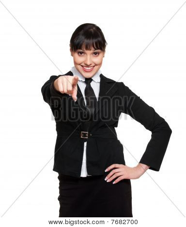 Smiley Businesswoman Pointing