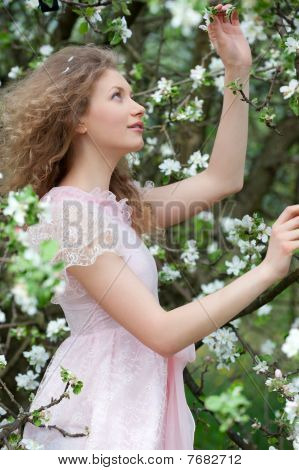 Lovely Blonde In Blossoming Orchard