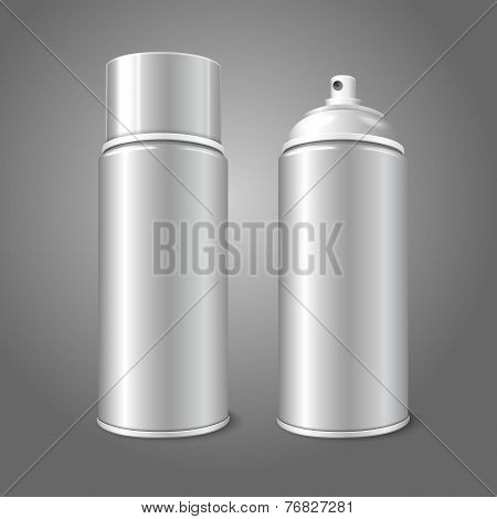 Two blank vector aerosol spray metal 3D bottle cans - opened and with cap. For paint, graffiti, deod