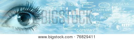 Human eye over abstract business background. Vision perspective