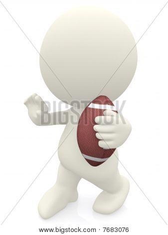 3D Man Holding A Football Ball