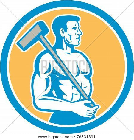 Union Worker With Sledgehammer Circle Retro