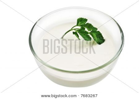 Glass Bowl With Sour Cream