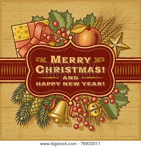 Merry Christmas Retro Card. Fully editable EPS10 vector.