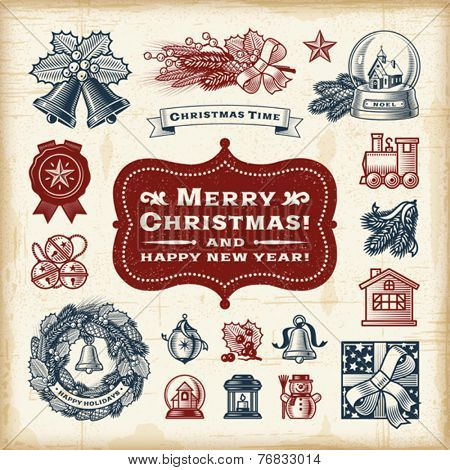 Vintage Christmas Set. Fully editable EPS10 vector.