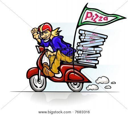 menino entregar pizza em scooter