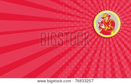 Business Card Fireman Firefighter Aiming Fire Hose Rosette