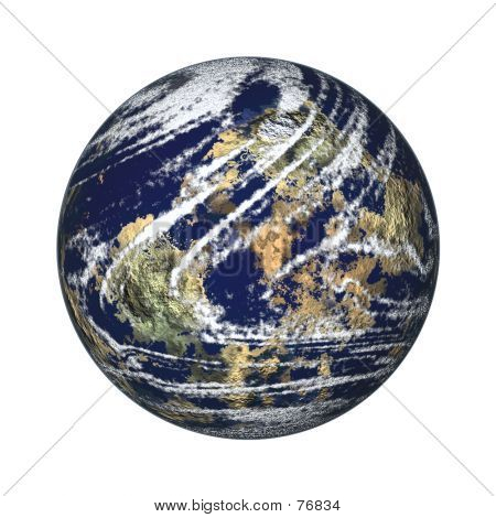 Earth Globe On White