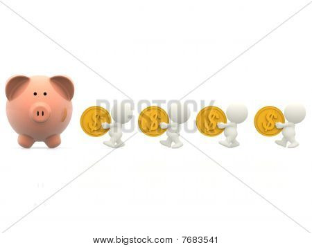 3D People Taking Money To A Piggybank