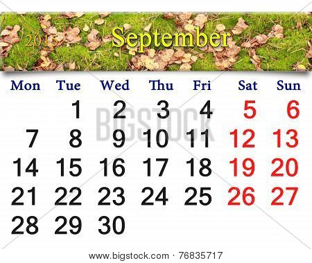 Calendar For September Of 2015 With The Moss And Leaves
