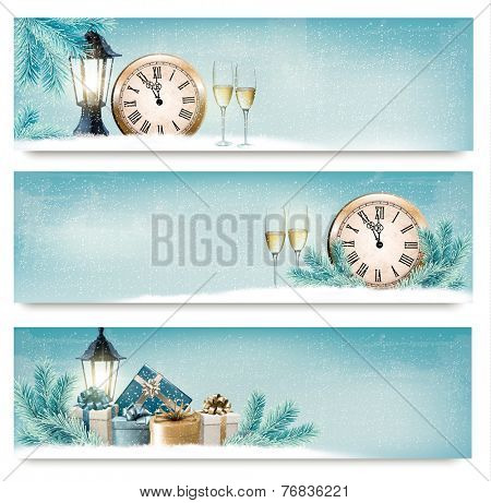 Three Christmas, New Year banners with gift boxes, lanterns and champagne. Vector.