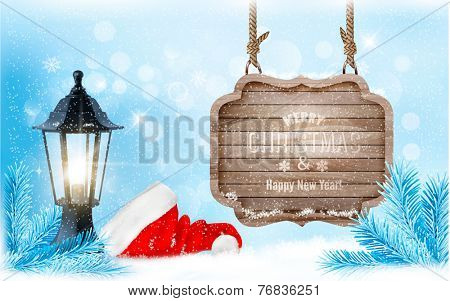 Winter christmas with a sign, lantern and a santa hat background. Vector.