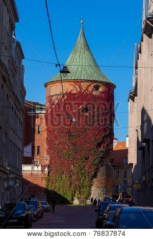 RIGA, LATVIA - OCTOBER 01: Riga Powder Tower at daytime on October 01, 2014 in Riga, Latvia