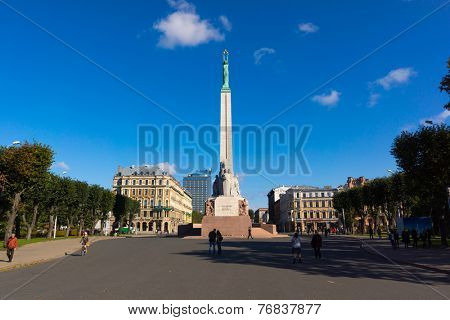 RIGA, LATVIA - OCTOBER 01: Riga Freedom Monument at daytime on October 01, 2014 in Riga, Latvia
