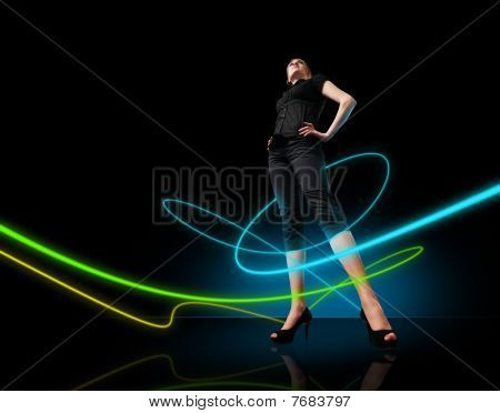 Media Collection - Glowing Lines Girl