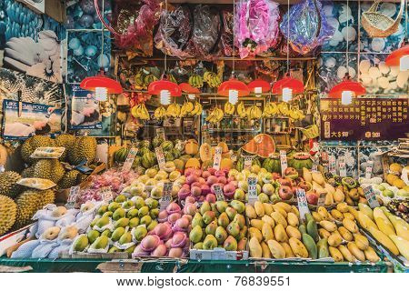 Causeway Bay, Hong Kong - June 4, 2014: tropical fruit market shop stall
