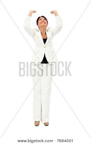 Business Woman Lifting Something