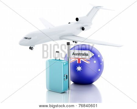 Travel Concept. Suitcase, Plane And Australia Flag Icon. 3D Illustration