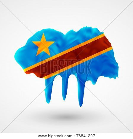 Flag Democratic Republic of Congo painted colors