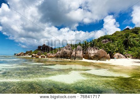 LA DIGUE, SEYCHELLES - 21 OCTOBER 2014 - Boulders on Shore of Isolated Lagoon Beach, Anse Source D'argent, La Digue, Seychelles on 21 October 2014