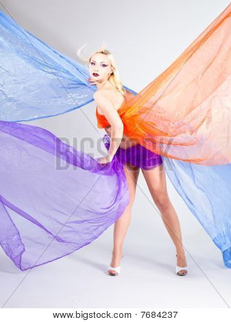 Beautiful Young Woman Wraped In Colorful Tulle