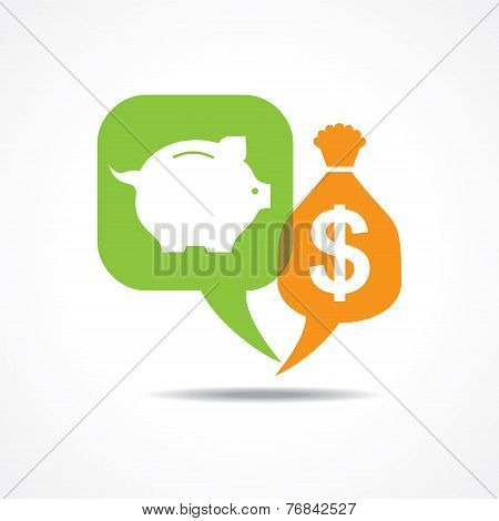 Piggy bank and dollar symbol in message bubble stock vector