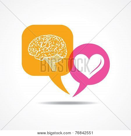 Brain and heart in message bubble stock vector