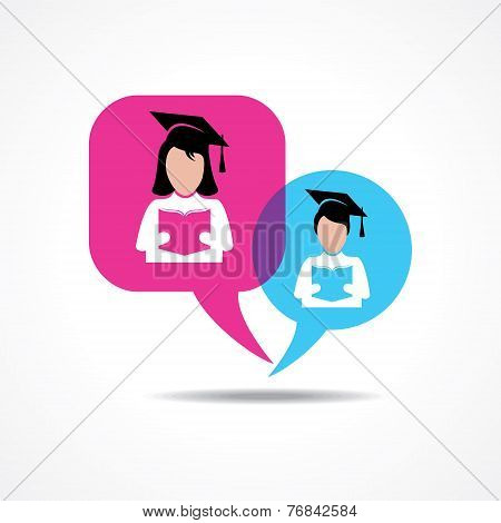 Girl and boy students for reading book in message bubble stock vector
