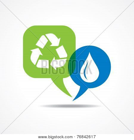 Waterdrop and recycle icon in message bubble stock vector