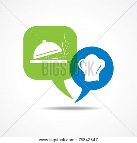 Platter and chef hat in message bubble stock vector