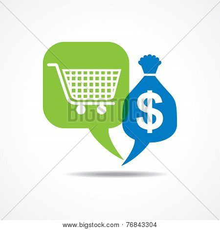 Shopping cart and dollar symbol in message bubble stock vector